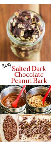 Salted Dark Chocolate Peanut Bark - just 3 ingredients to make this easy treat. Perfect for Valentines Day