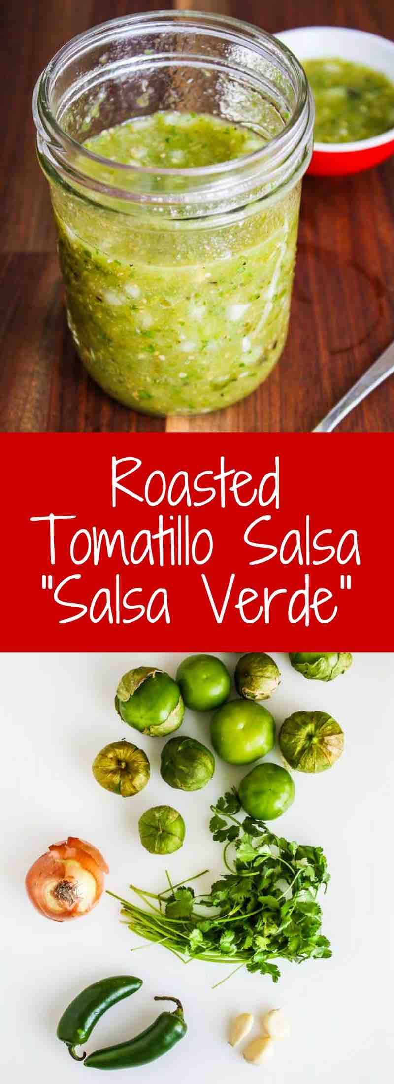 Roasted Tomatillo Salsa - this roasted version of salsa verde has some heat and smokiness. Delicious as a dip, condiment or served on top of salads