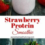 Strawberry Protein Smoothie - this healthy smoothie packs in 27.5 grams of protein with no protein powder