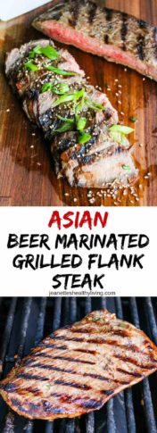 Asian Beer Marinated Flank Steak - this marinade is phenomenal! Juicy and flavorful flank steak on the grill is a summer favorite