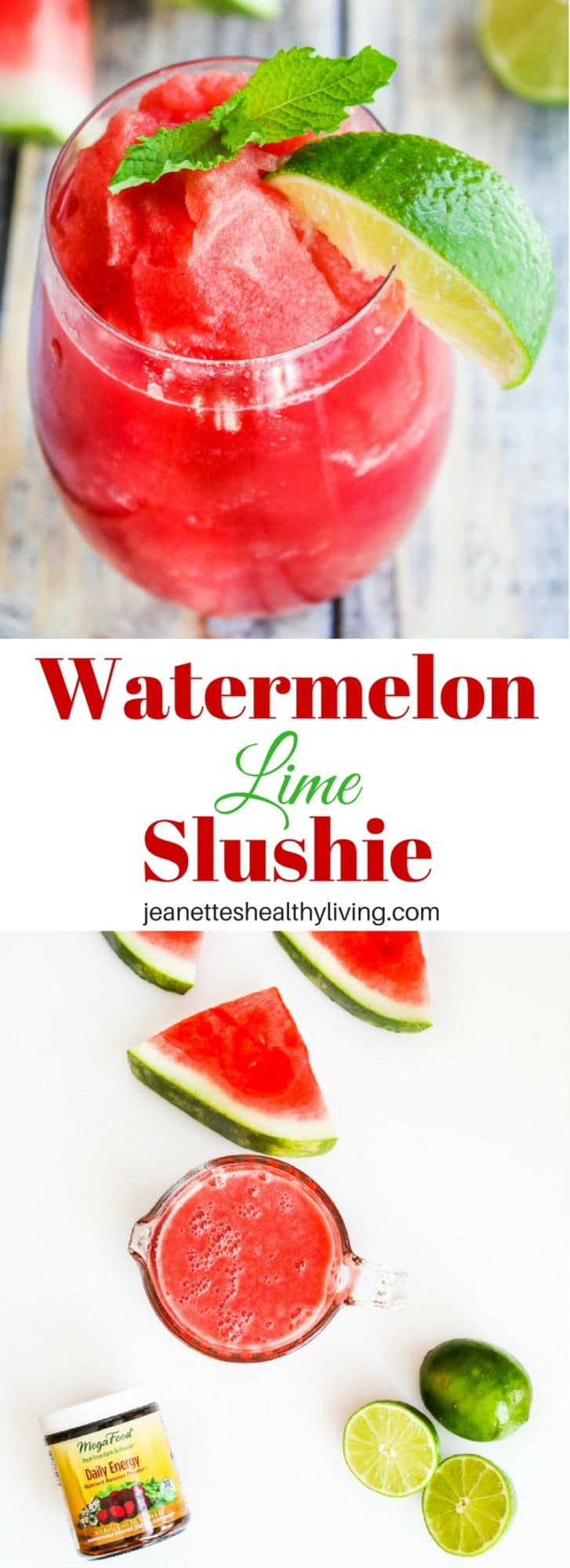 Watermelon Lime Slushie - just 3 ingredients! Refreshing, nutritious and stress reducing
