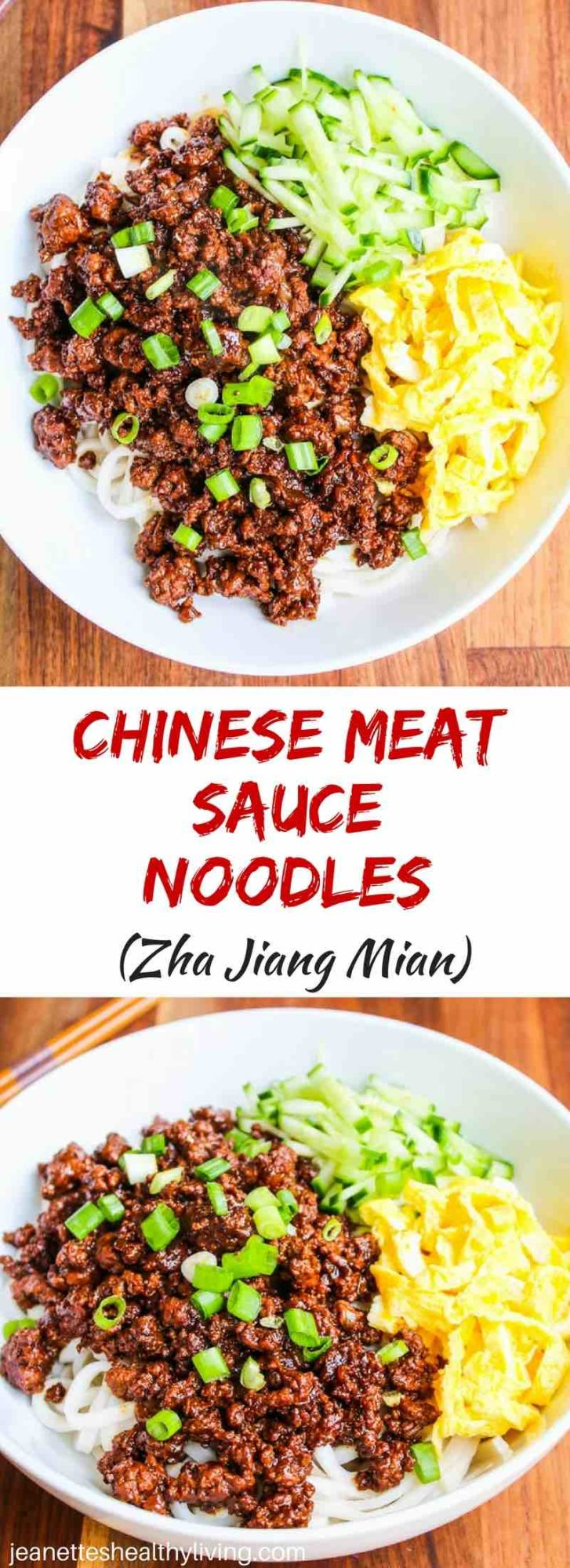 Zha Jiang Mian - easy, delicious Chinese meat sauce over noodles with cucumbers and shredded egg omelet