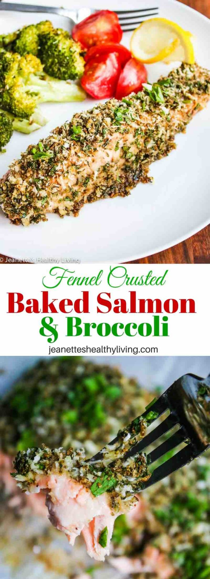 Fennel Crusted Baked Salmon and Broccoli - easy fast one pan dinner recipe