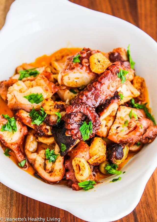 Sous Vide Octopus Spanish Tapas - the most tender octopus, seasoned with garlic and smoked paprika for the perfect tapas