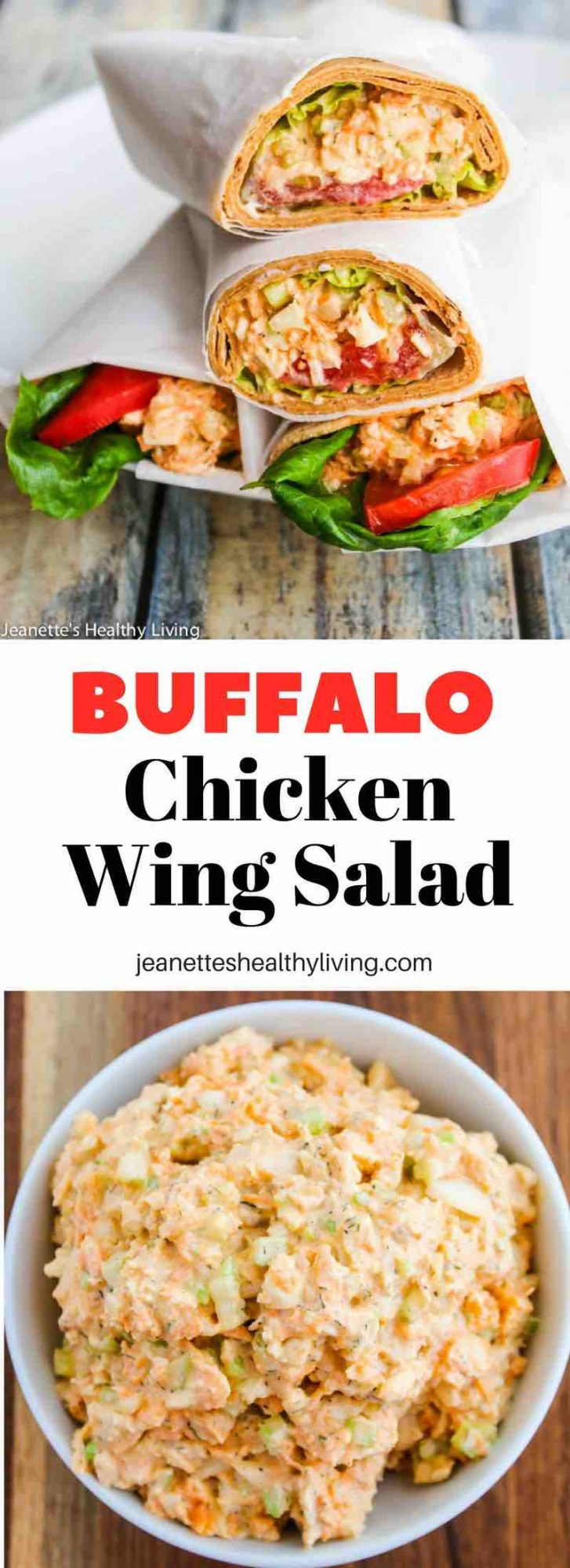 Buffalo Chicken WIng Salad - all the flavors of everyone's favorite Buffalo chicken wings in a wrap sandwich