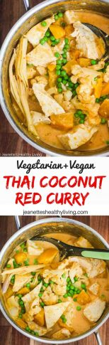 Vegetarian Thai Coconut Red Curry - this vegan and vegetarian one-pot meal cooks in less than 30 minutes. Delicious served over steamed rice or rice noodles