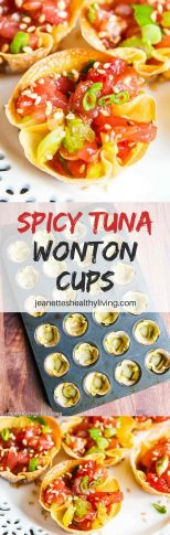 Spicy Tuna Wonton Cups - bite size spicy tuna appetizer perfect for parties