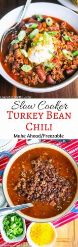 Slow Cooker Turkey Bean Chili - budget-friendly, delicious and a crowd pleaser - make ahead/freezable; great for parties and family gatherings