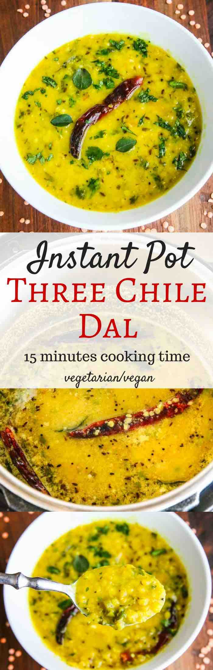 Instant Pot Three Chile Dal (vegan/vegetarian) - fragrant and flavorful -spices include cumin, black mustard seeds, cilantro, garlic, green and red chiles, and cayenne