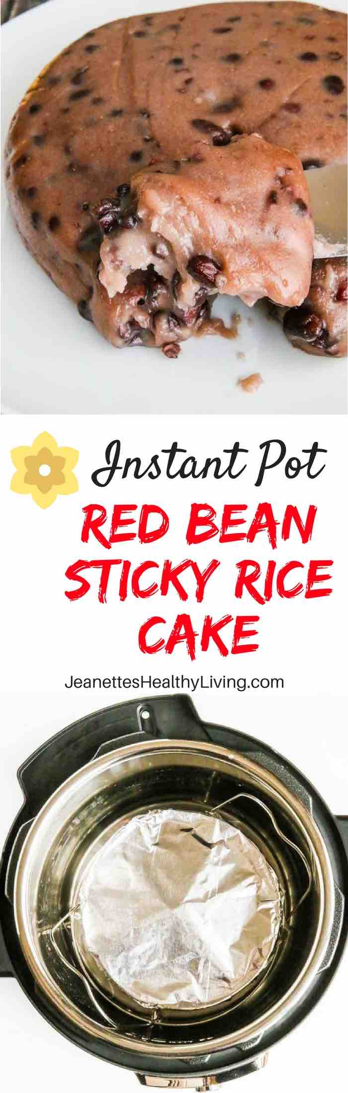 Red Bean Sticky Rice Cake - celebrate Chinese New Year with this traditional steamed mochi-like cake. Pressure steam in an Instant Pot or steam on stovetop.