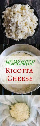 Homemade Ricotta Cheese - easy and delicious - takes less than an hour to make