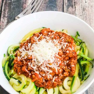 Instant Pot Turkey Bolognese Sauce - cooks in 20 minutes; healthy, lighter version of a family favorite. Serve over zucchini noodles for an even lighter meal