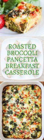 Roasted Broccoli Red Pepper Pancetta Breakfast Casserole