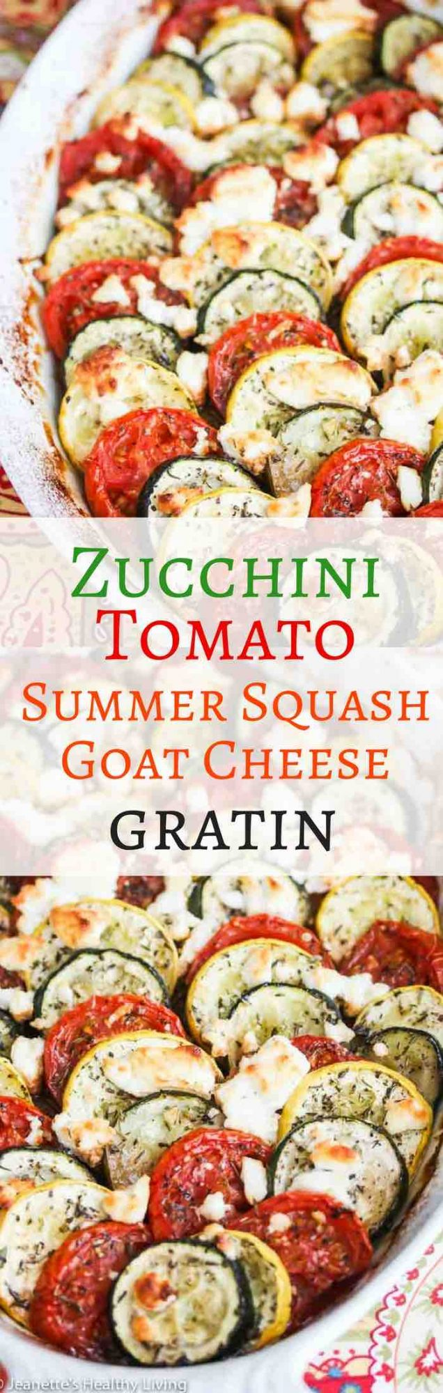 Zucchini Tomato Summer Squash Goat Cheese Gratin - beautiful summer vegetable dish that will impress your guests