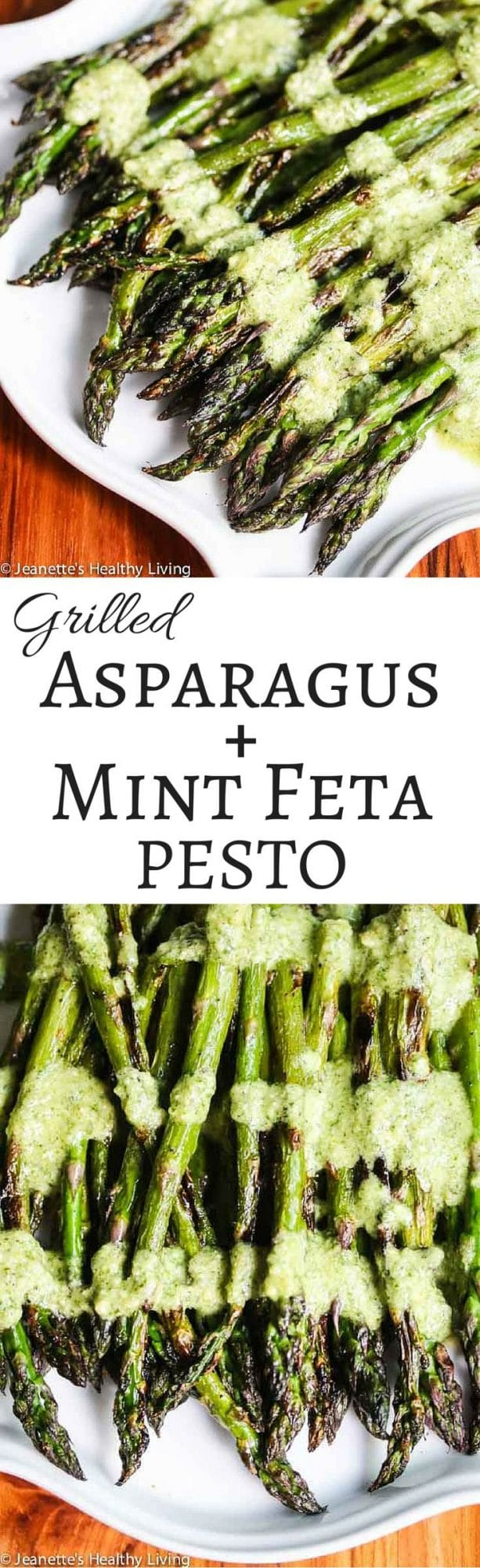 Grilled Asparagus with Mint Feta Pesto - the fresh tangy mint feta topping brings grilled asparagus up a notch