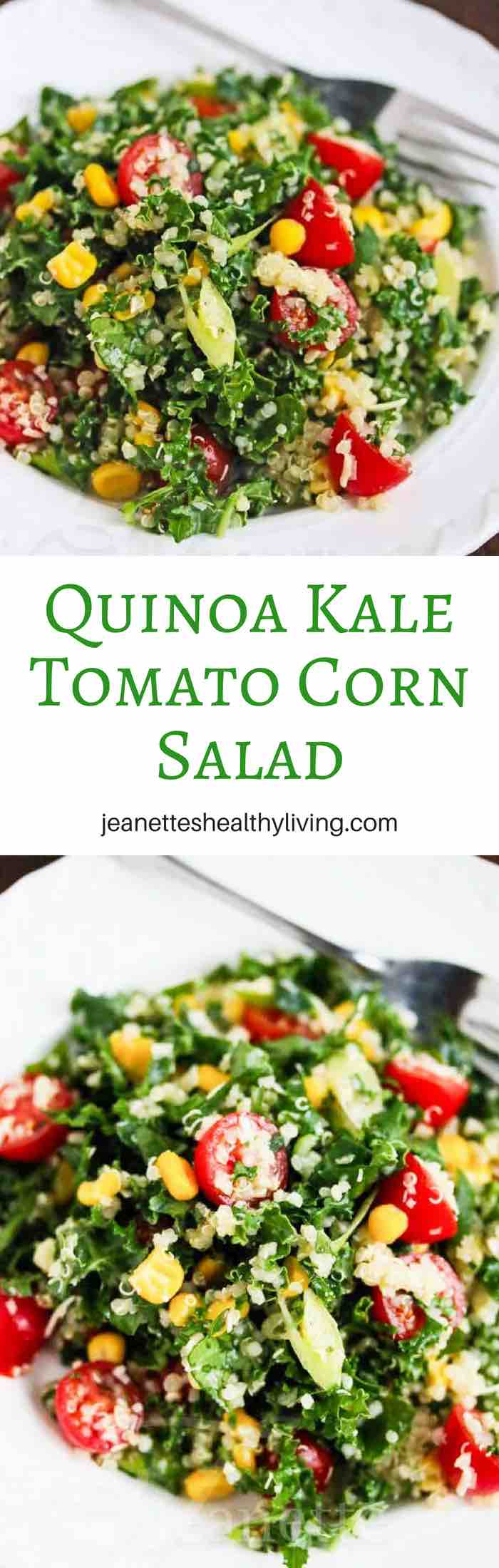 Quinoa Kale Tomato Corn Salad - light, healthy and delicious main course salad