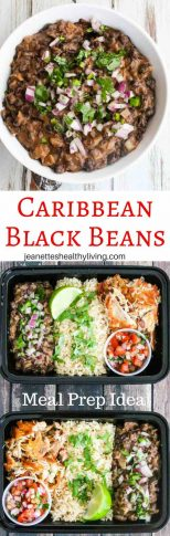 Caribbean Black Beans - quick, easy, healthy vegetarian/vegan dish; cilantro onion jalapeno salsa on top; great for meal prep