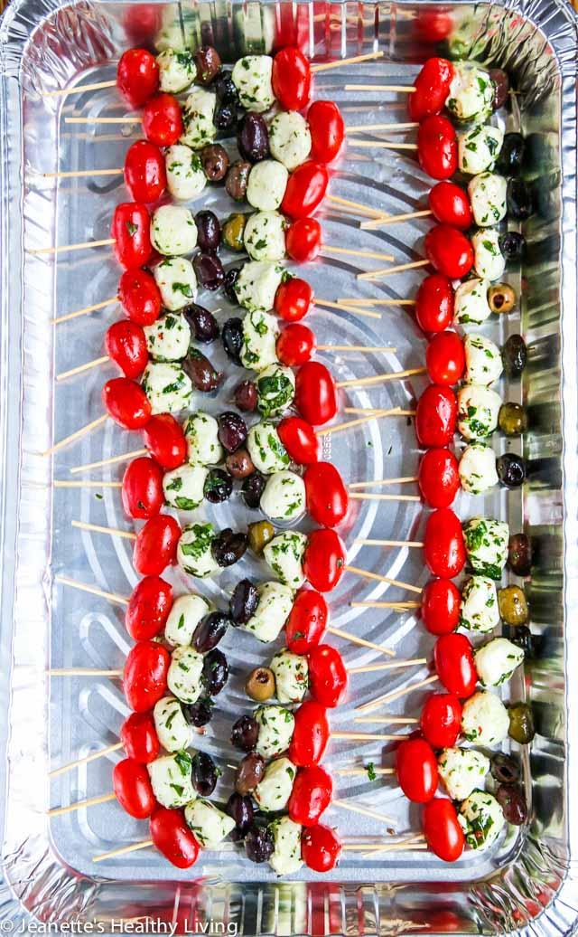 tomato mozzarella olive skewers
