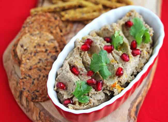 Georgian Eggplant Walnut Dip - traditional Georgian dish made with roasted eggplants and walnuts