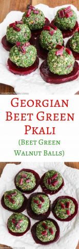 Georgian Beet Green Pkhali - pretty presentation of a traditional Georgian dish