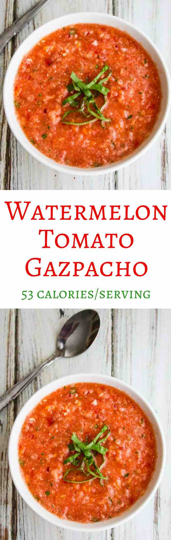 Watermelon Tomato Gazpacho - refreshing, delicious, low calories, no fat summer soup