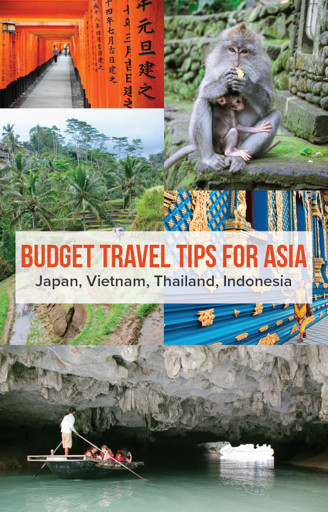 Budget Travel Tips For Asia - get tips for traveling on a budget in Japan, Vietnam, Thailand, and Indonesia, including places to eat and stay