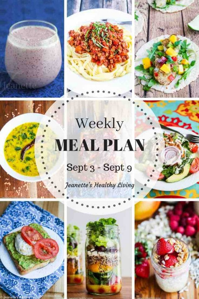 Healthy Meal Plan Sept 3 - Sept 9 - flexible meal plan for breakfast, lunch and dinner