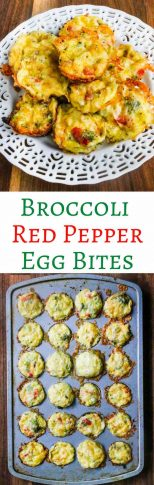 Broccoli Red Pepper Egg Bites - perfect for on-the-go breakfasts, quick pick-me-up snacks or breakfast buffets; easy customizable