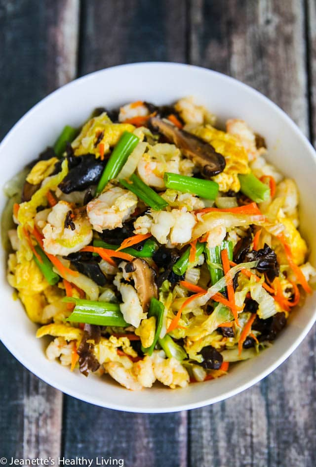 Moo Shu Shrimp Recipe - healthy, delicious one-dish meal. Serve with flour tortillas or Mandarin Pancakes for an authentic Chinese meal