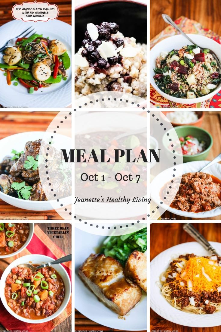 Weekly Healthy Meal Plan Sept 24 - Sept 30 - Weekly Healthy Meal Plan Oct 1 - Oct 7 - breakfast, lunch and dinner recipes and ideas to help get healthy meals on your family's table