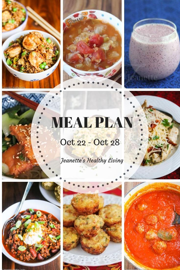 Weekly Healthy Meal Plan Oct 22 - Oct 28 - breakfast, lunch and dinner recipes and ideas to help get healthy meals on your family's table
