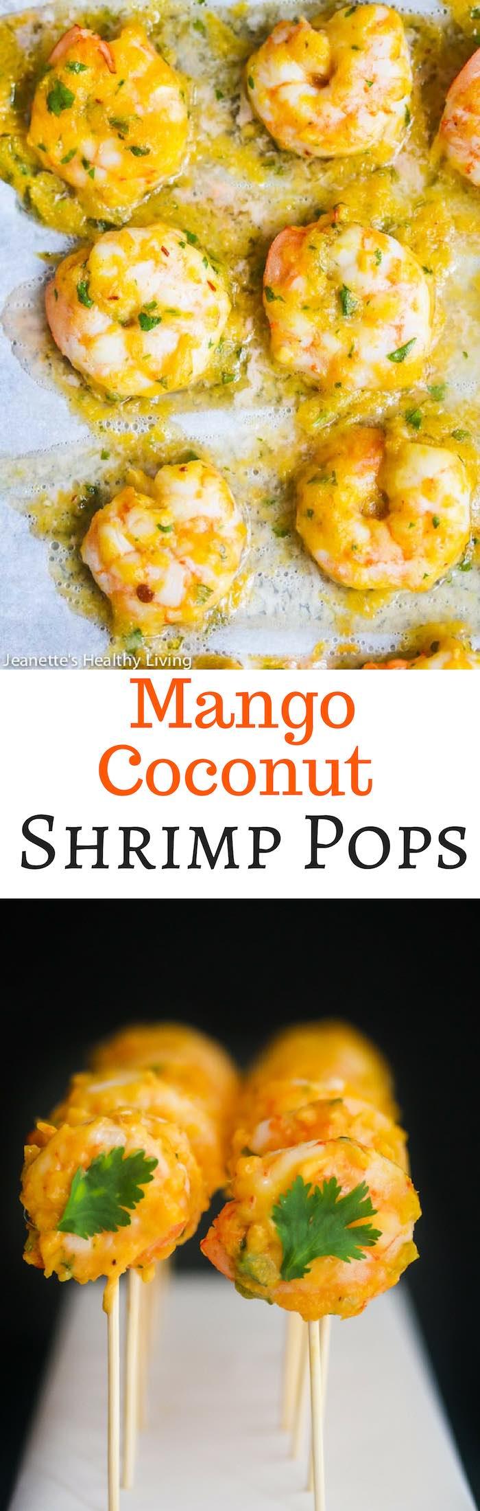 Mango Coconut Shrimp Pops - a delicious tropical themed shrimp cocktail