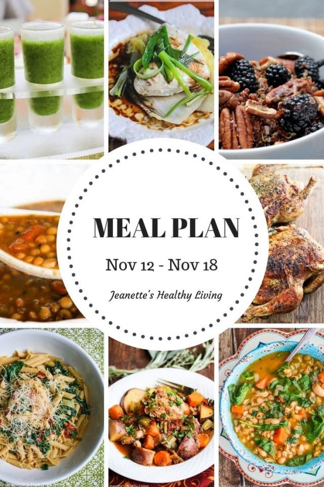 Weekly Meal Plan Nov 12 - Nov 18 - Weekly Healthy Meal Plan Oct 29 - Nov 4 - breakfast, lunch and dinner recipes and ideas to help get healthy meals on your family's table