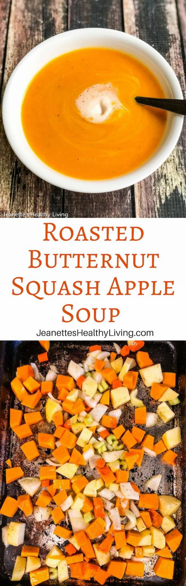 Roasted Butternut Squash Apple Soup - served with maple syrup coconut cream - vegan and vegetarian friendly