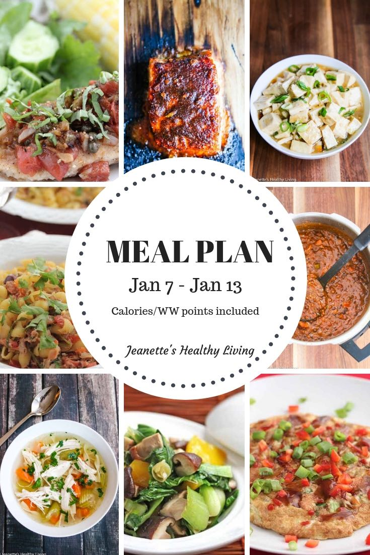 Weekly Meal Plan Jan 7 - Jan 13 - Calories and WW points included