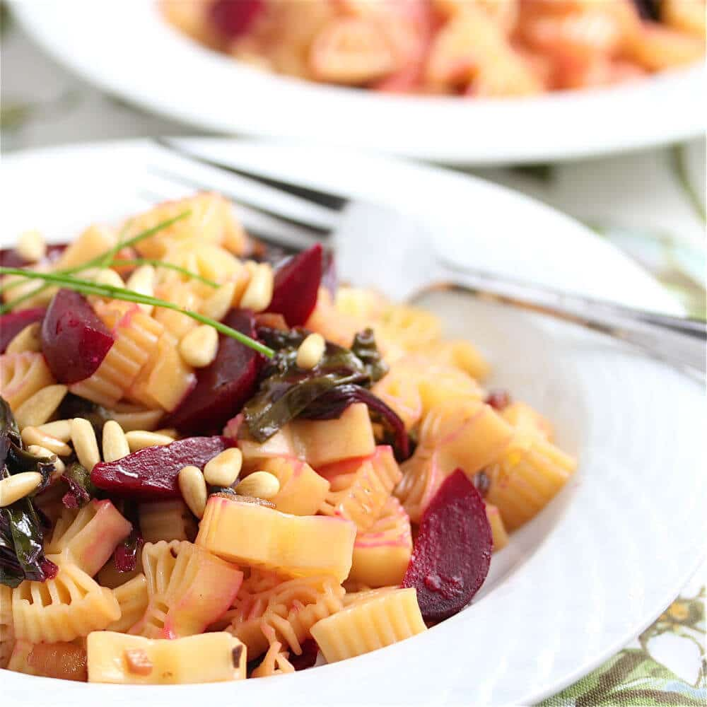 Pasta with Roasted Beets, Beet Greens and Pine Nuts