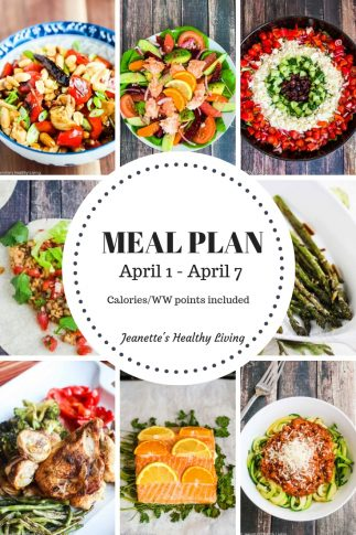 Weekly meal plan April 1 - April 7