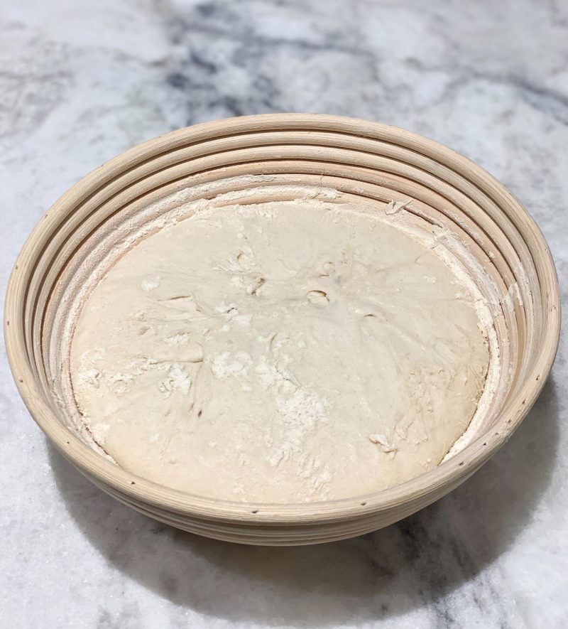 sourdough bread after overnight refrigeration