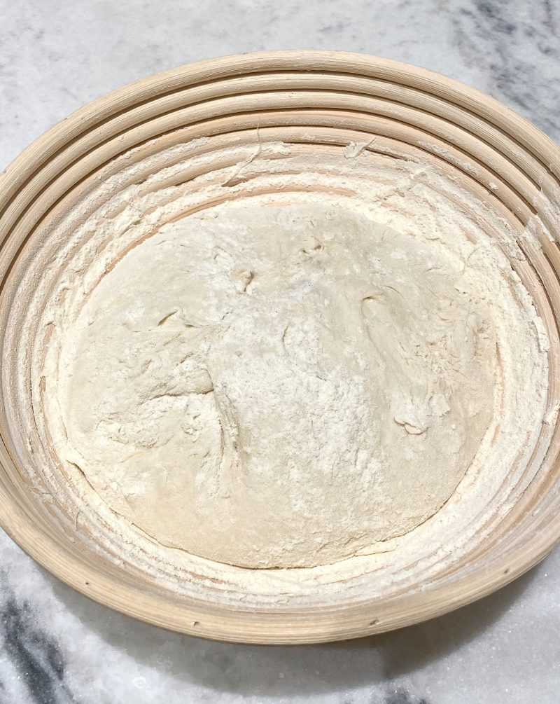 sourdough bread before overnight refrigeration