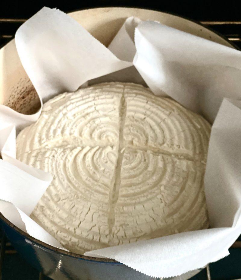 sourdough bread in cast iron pot