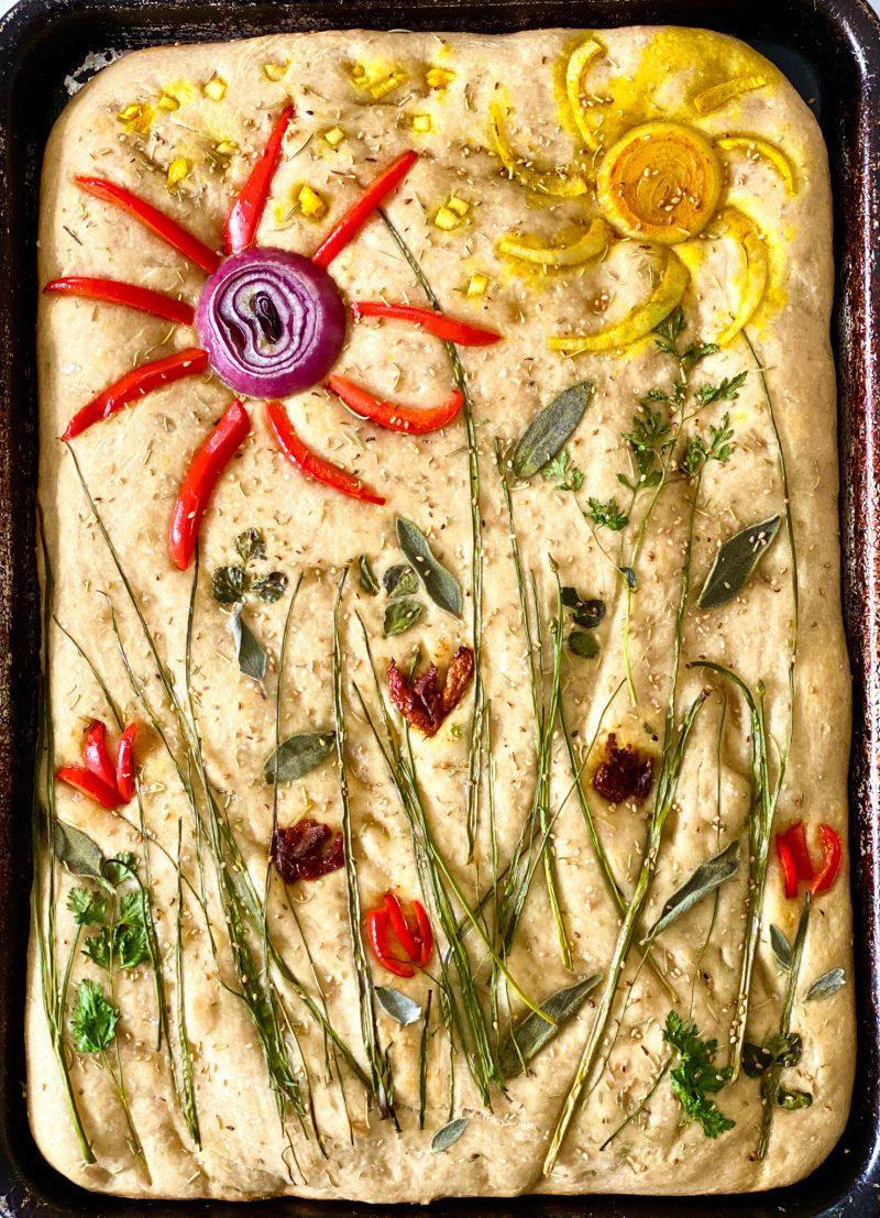 Baked Sourdough Focaccia Art