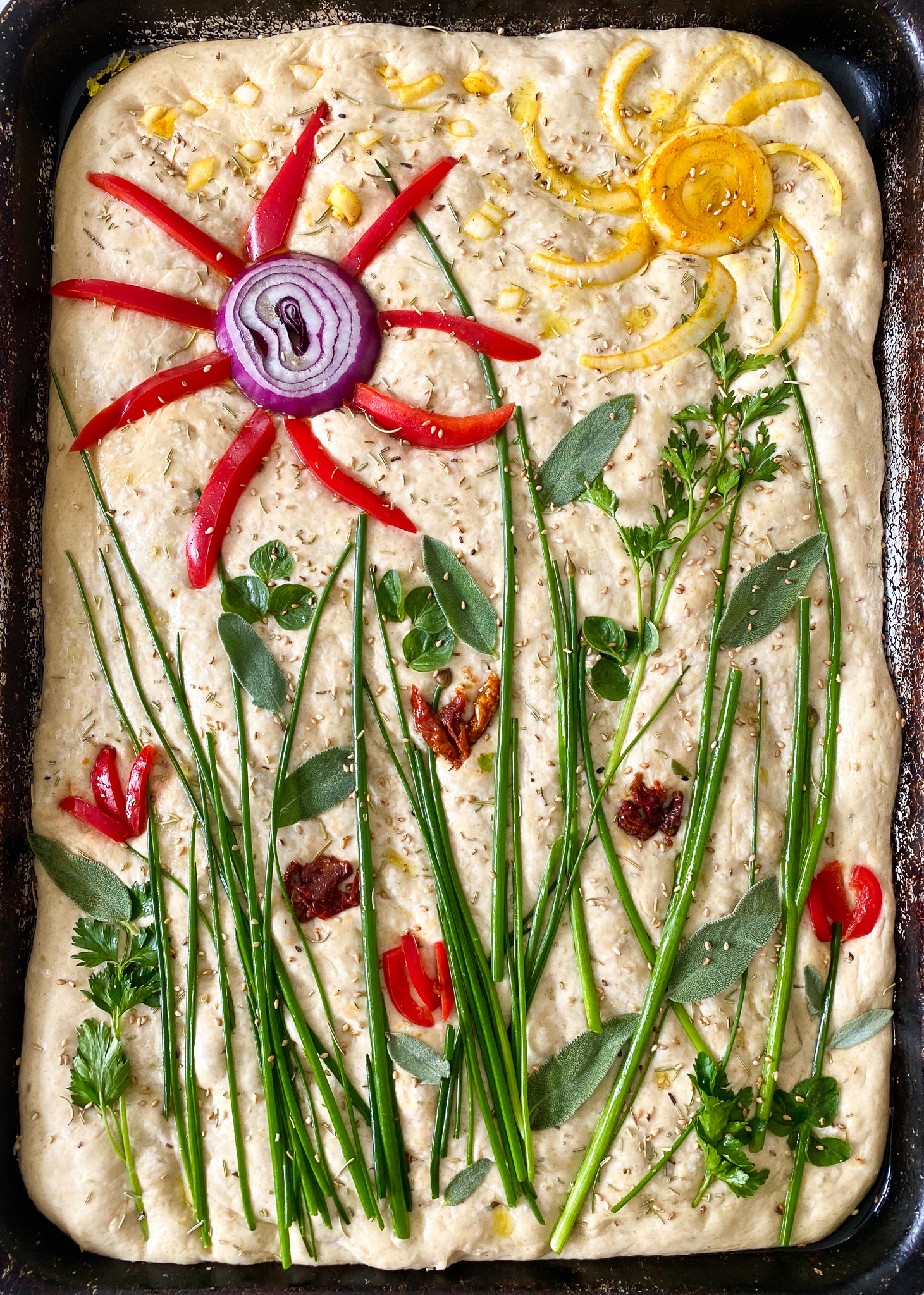 focaccia art before baking