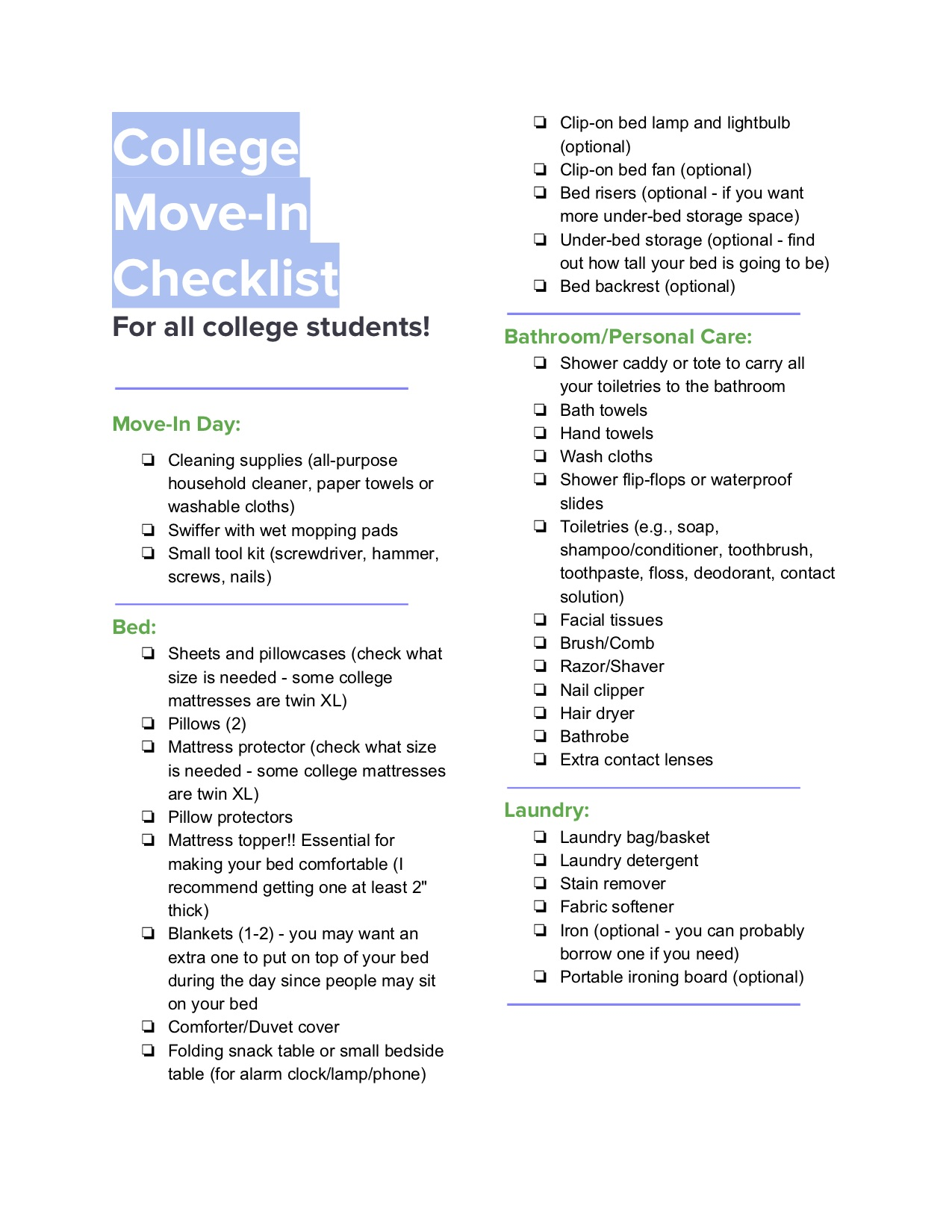 College Move In Checklist