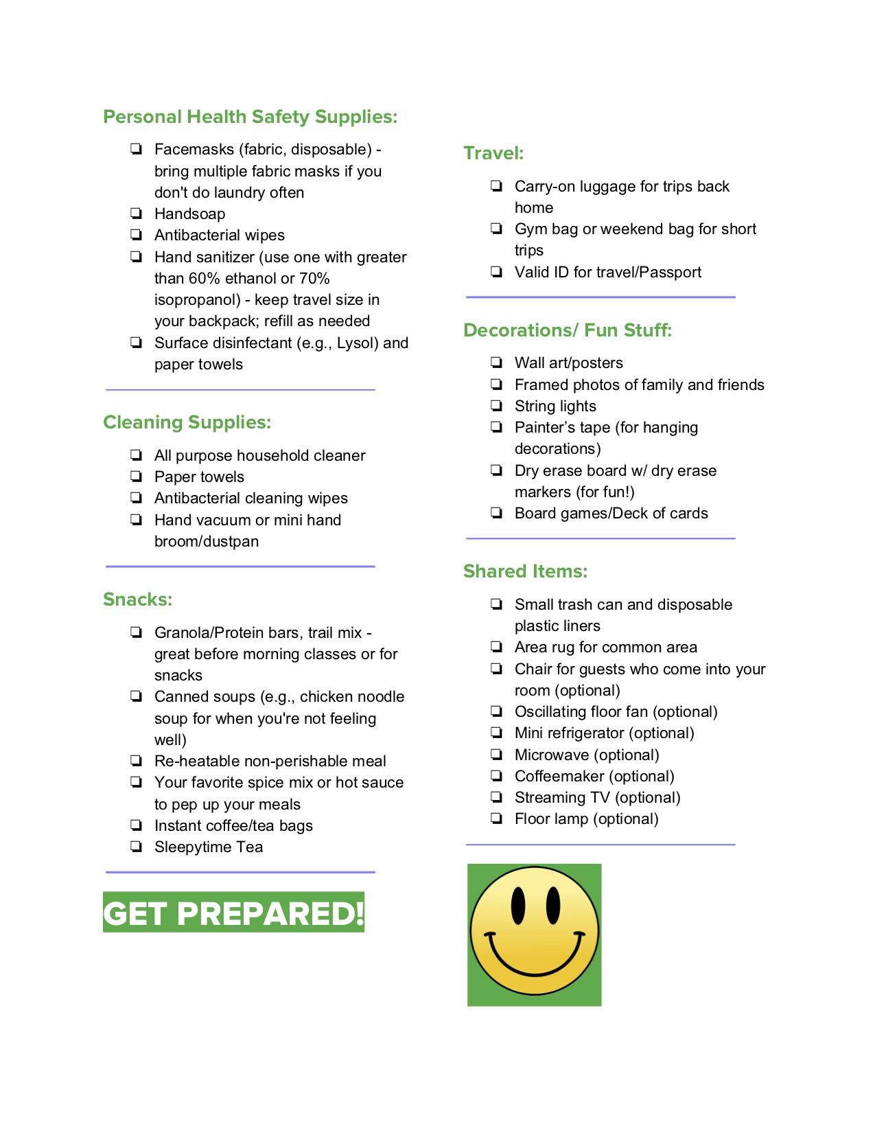 Lista de verificação da mudança da faculdade - vida saudável de Jeanette 3