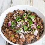 Caribbean Black Beans - quick, easy, healthy vegetarian/vegan dish; cilantro onion jalapeno salsa on top