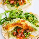 Oven Fried Avocado Tacos - these crunchy avocado tacos are baked for a healthy vegetarian taco filling