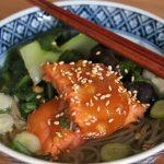 Miso Glazed Salmon Soba Noodle Soup