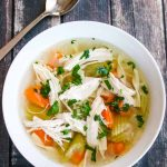 Instant Pot Homemade Chicken Soup - 15 minutes to cook; freezable; any extra shredded cooked chicken can be used in other recipes too