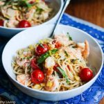 30 Minute Lemon Pasta with Shrimp Corn Tomatoes & Basil © Jeanette
