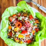 Rainbow Quinoa Vegetable Salad - this colorful quinoa salad is packed with clean, healthy ingredients